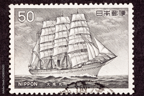 Japanese Postage Stamp Taisei Maru Steam Powered Tall Ship