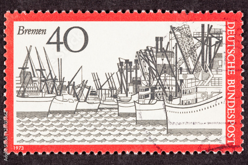 Postage Stamp Used West German Freighters Docked Bremen Harbor
