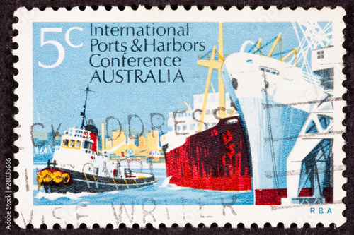 Australian Postage Stamp Used Tug Freighter Ship Docked Harbor