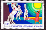 Mongolia Stamp Standing Rearing Horses Performing Circus Trainer poster