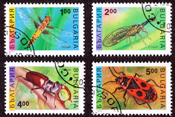 Bulgarian Stamp, Insects Dragonfly Mayfly Stag, Carrion Beetles