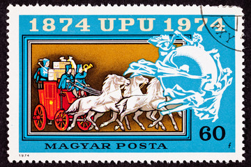 Hungary Stamp Mail Delivery Stagecoach Universal Postal Union