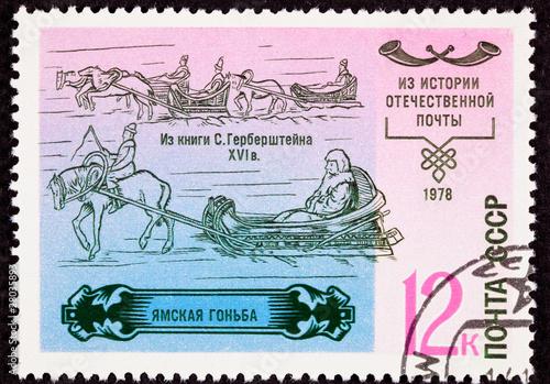 Soviet Union Postage Stamp History Postal Service Sleigh