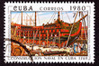 Postage Stamp Santísima Trinidad Ship of the Line Construction
