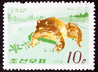 Korean Postage Stamp Fenced In North American Bull Frog