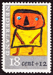 Dutch Netherlands Stamp Child's Drawing Person Standing Yellow