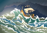 Ship sinking in the storm, vector illustration