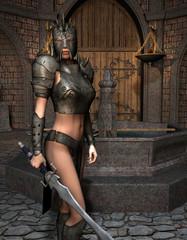 Schwertkämpferin in Rüstung