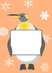 santa penguin and messageboard on the snowflakes background