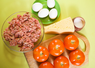 ingredients for stuffed tomato. Stages of cooking  in series