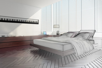 Modern designed bedroom (3d)
