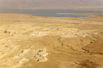 Dead Sea view from Masada, lowest place on earth.