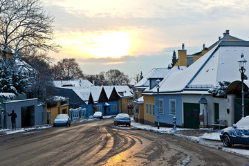 village of Grinzing in early morning light in Wintertime