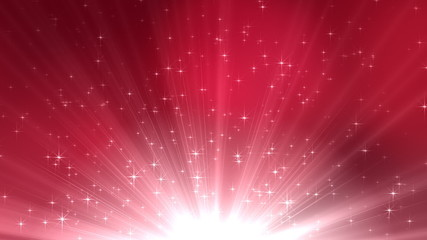 Glowing stars and rays in a seamless background loop.