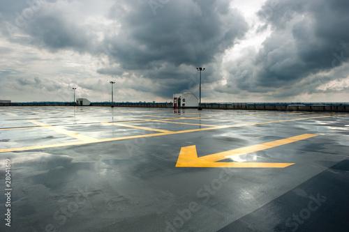 Leinwanddruck Bild Rainy Parking