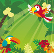 Tropical rainforest birds, plants and flowers