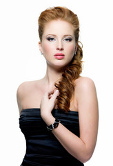 beautiful young red-haired woman with fashion make-up