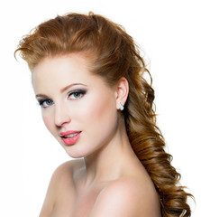 Attractive red-haired female with beautiful face