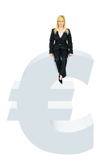 woman sitting on euro symbol