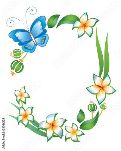 Frame on a white background: butterfly, foliage and flowers