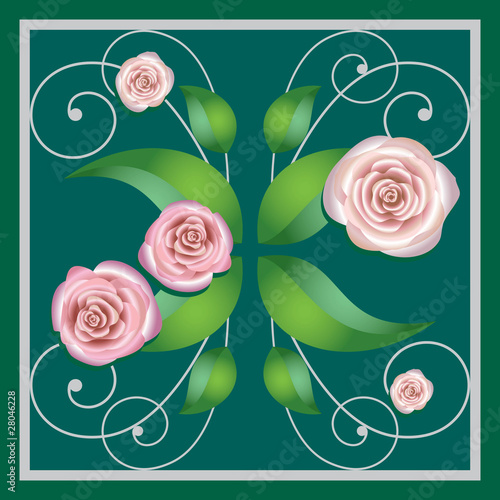 Element of a flower ornament, roses