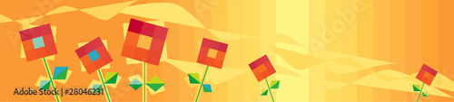 Horizontal orange background with red flowers