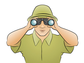 Traveler man in green hat looking through binoculars