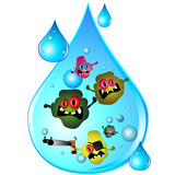 Drop of dirty water