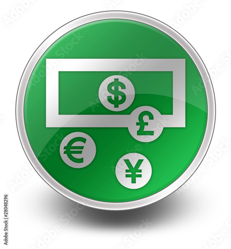 "Glossy Green Icon ""Currency Exchange"""