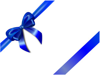 Blue bow and blue ribbon