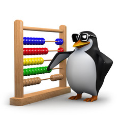 3d Penguin stands by his abacus