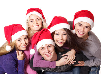 Group young people in santa hat . Isolated.