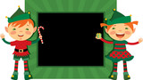 Christmas frame with cute elves poster