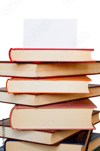 Stacked books isolated on the white background