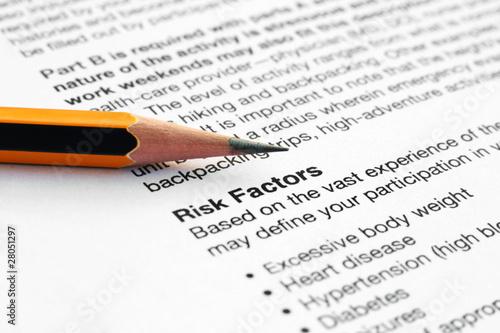 Health history form - risk