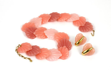 Pink Shell Necklace Overhead View