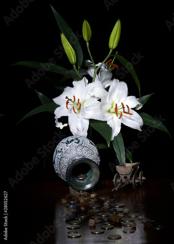 Lilies, treasure, telega for money and jewels