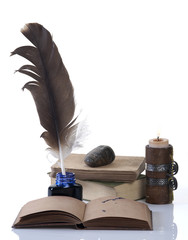 Ready for writing old style set with a feather and a candle