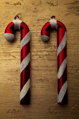 2 Candy Cane laid out in number 11 symbolising new year.
