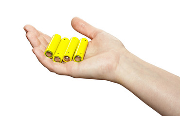 Battery on hand isolated on white background