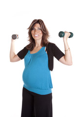 pregnant blue shrit weights up