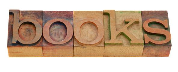 books word in wood type