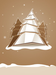 Folded paper Christmas tree greeting card