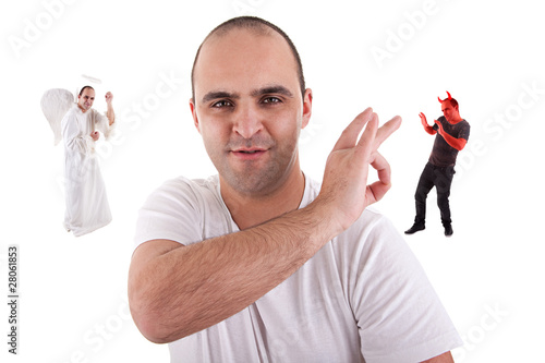 young man with a finger removing the devil