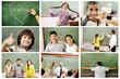 School concept, children and teacher in classroomb