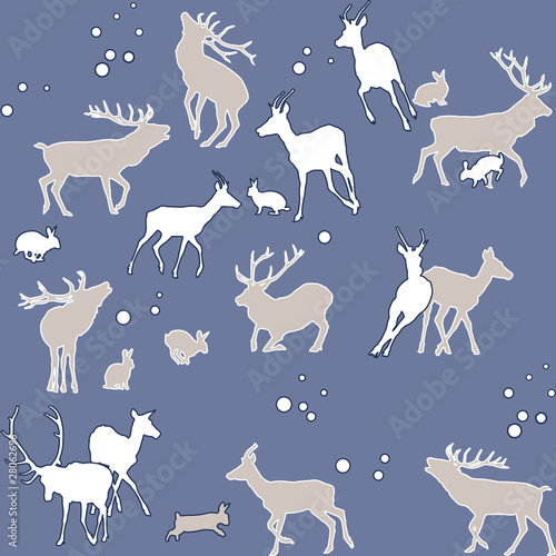 deer and bunnies - winter seamless background