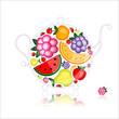 Fruit drink, teapot on black for your design