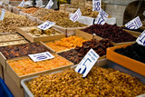 Organic Different Types Of Nuts and Dried Fruits At A Street Mar