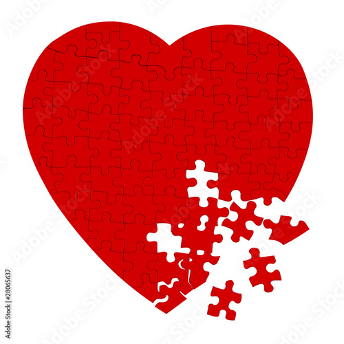 Broken heart puzzle isolated on white