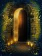Drzwi fantasy ze świecami i bluszczem